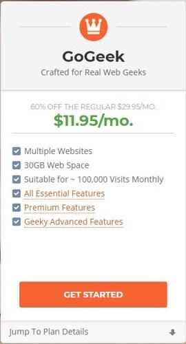 GoGeek Siteground hosting package