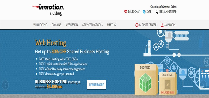InMotion - best wordpress hosting 2017