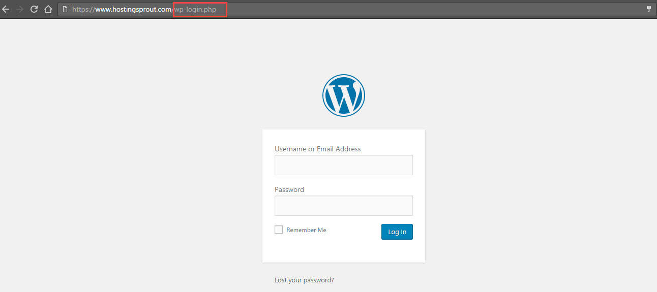 WordPress login URL dashboard
