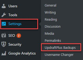 how to create site backup using updraftplus