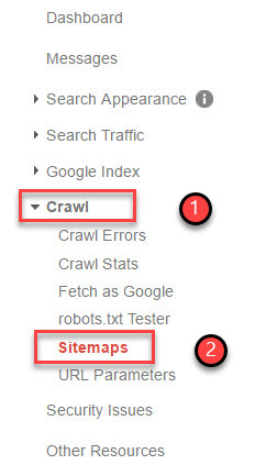 adding sitemap in search console