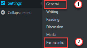 change permalink and general settings