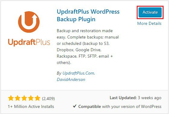 installing and activating updraftplus plugin