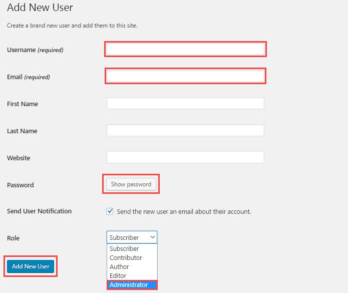 how to add new user in wordpress
