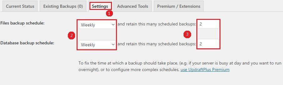 wordpress site backup schedule