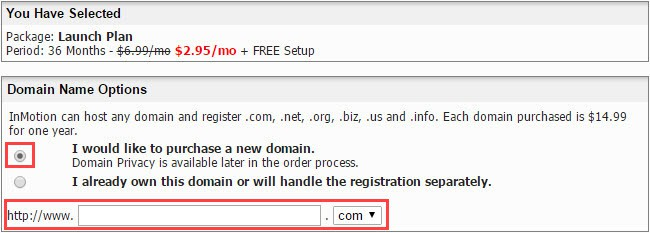 enter domain name - InMotion