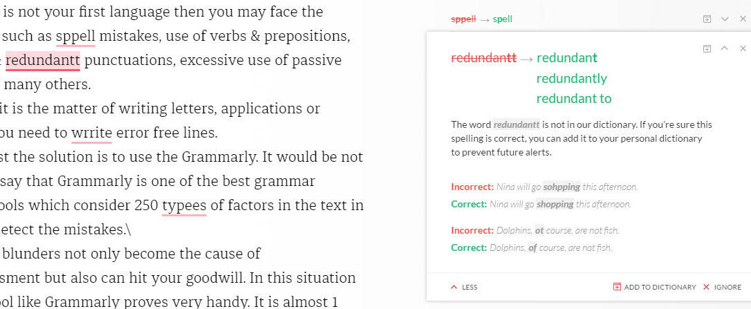 spelling correction by grammarly editor
