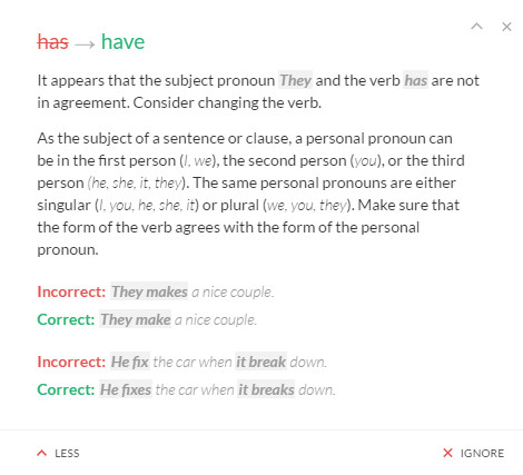 Find grammatical errors