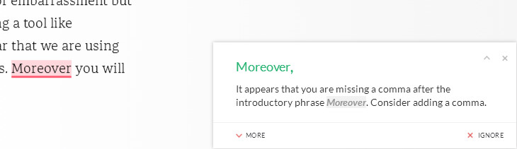 Grammarly detect punctuation mistakes