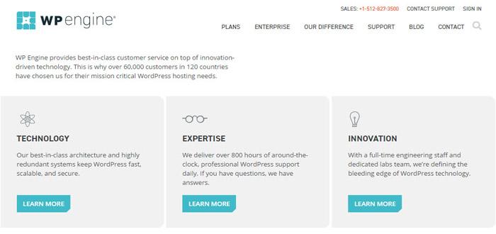 WPengine managed wordpress hosting 2017