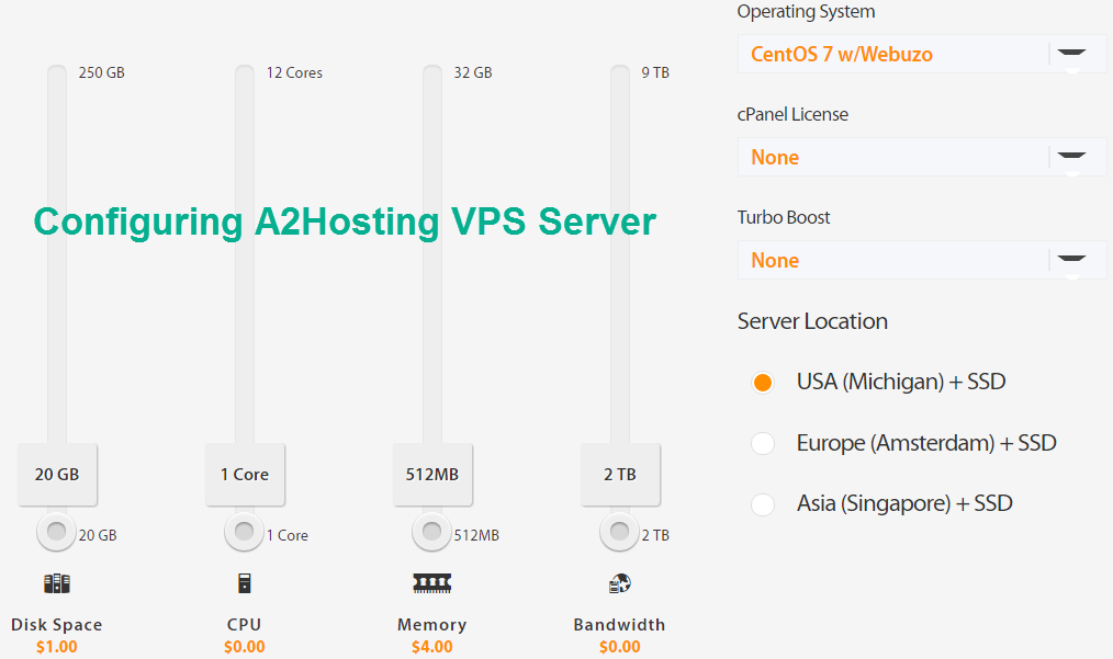 configuring A2hosting linux VPS server