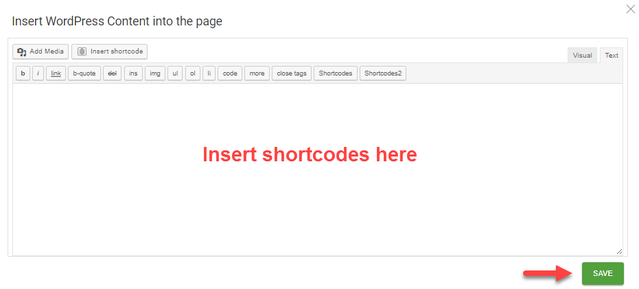 insert shortcodes in thrive architect
