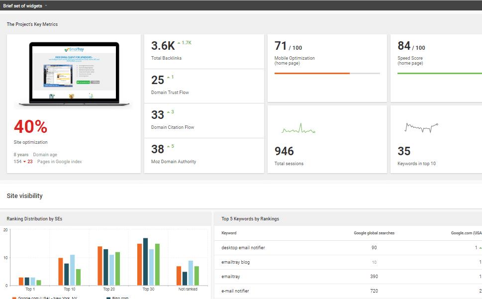 WEB CEO dashboard